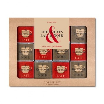 Coffee Set Noir & Lait, 36 napolitains