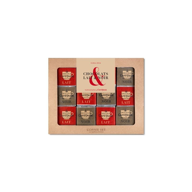 Coffee Set chocolat Noir & Lait, 36 napolitains