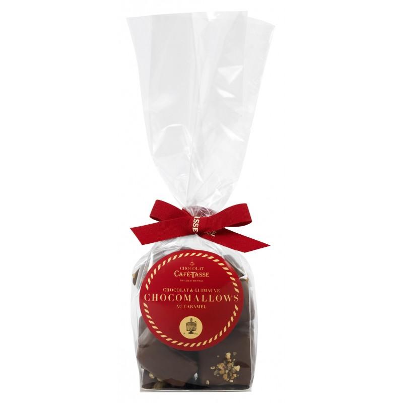 Marshmallows met karamel bedekt met melkchocolade & gekarameliseerde hazelnoten
