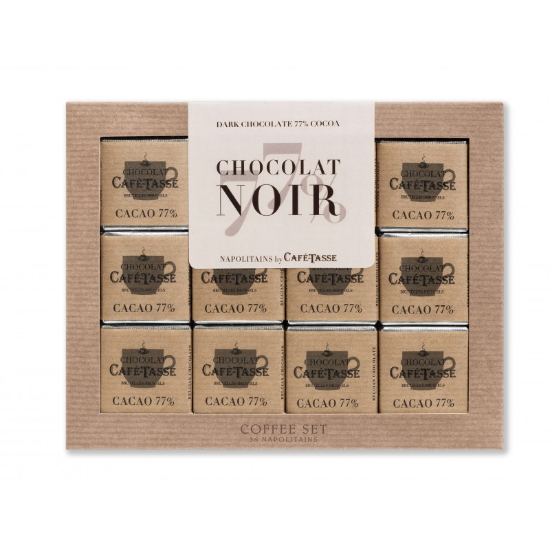 Koffie Set Pure chocolade 77%, 36 napolitains