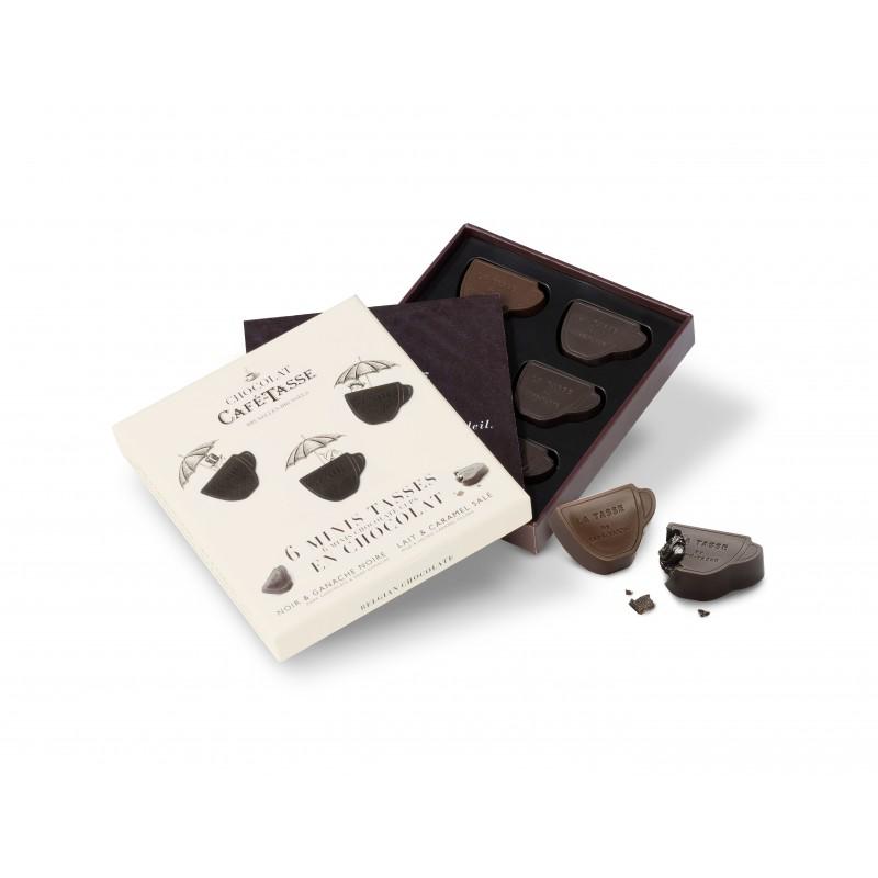 Dark chocolate ganache & milk stuffed ganache & salted caramel & Xmas edition