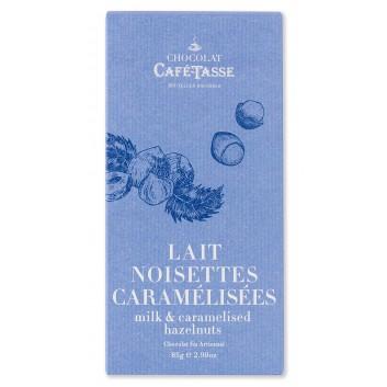 Tablette de chocolat au Lait , Noisettes Caramélisées Salées