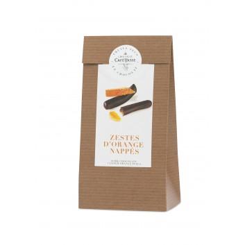 Orange peel coated with dark chocolate