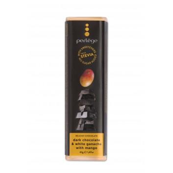 Perlège pure chocolade & witte ganache met mango (stevia)