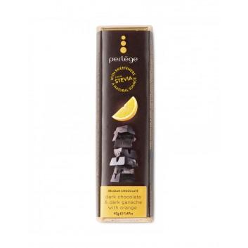 Perlège pure chocolade reep met pure ganache & sinaasappel  (stevia)