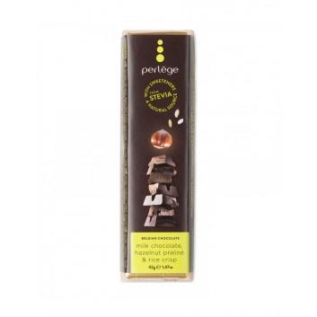 Barre de chocolat au Lait praliné & riz soufflé (Stevia)