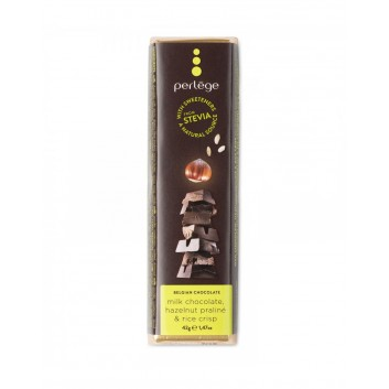 Perlège melkchocolade praliné hazelnoot & gepofte rijst reep (stevia)