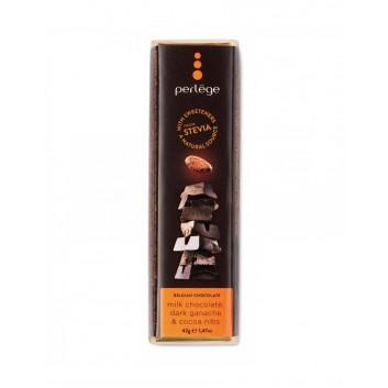Perlège melkchocolade reep met donkere ganache en cacaobonen (stevia)