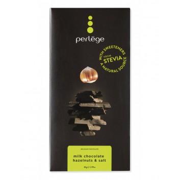 Perlège melkchocolade tablet met gezouten hazelnooten (Stevia)