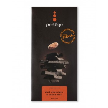 Perlège pure chocolade met cacaoboon stukjes (Stevia)