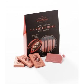 Zakje met mini-tabletten Ruby chocolade
