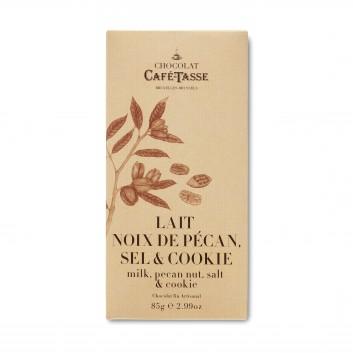 Tablet melkchocolade met Pecannoten, zout & Koekjen
