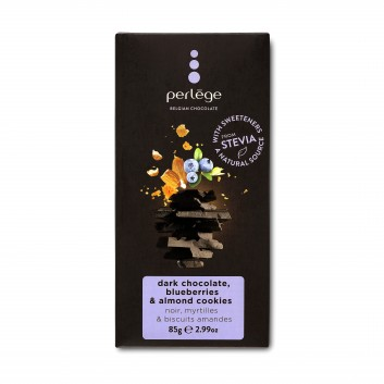 Perlège pure chocolade tablet met bosbessen en amandel koekjes (Stevia)