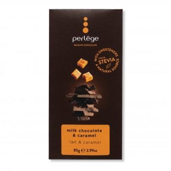 Perlège melk chocolade tablet met  karamel (stevia)