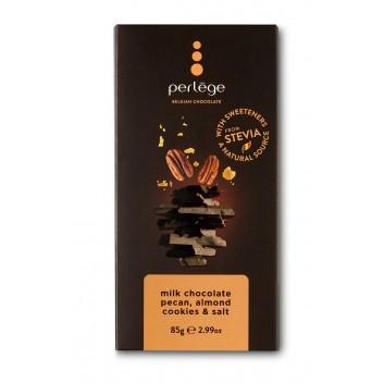 Perlège melk chocolade tablet met  pecannoten, amandelkoek stukjes & zout (stevia)