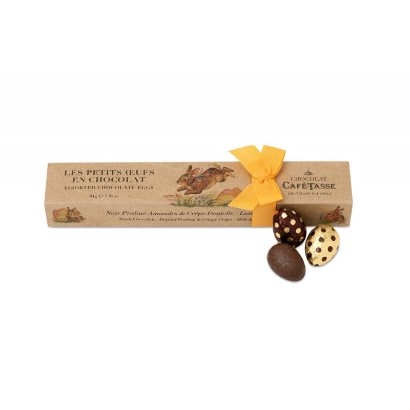 Assortiment petits oeufs chocolat noir praliné amandes , crêpe dentelle & chocolat lait speculoos