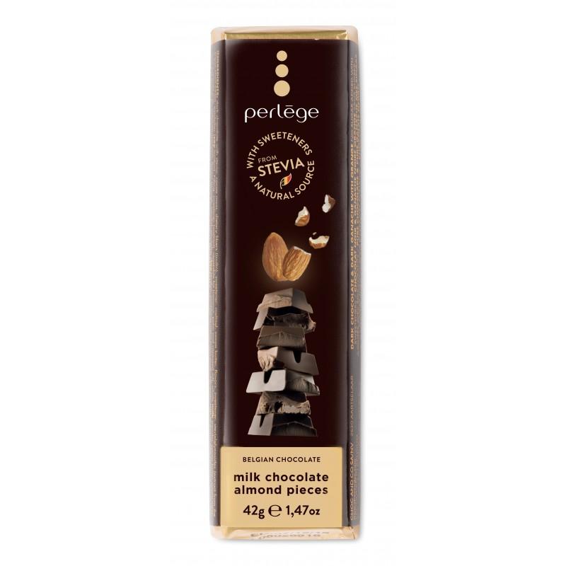Melkchocolade reep met geroosterde amandelen (Stevia)